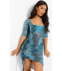 tropicana strand jurk met extreme lage ronde hals, turquoise