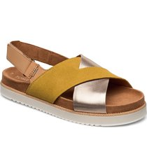 amber gold suede/metallic leather shoes summer shoes flat sandals gul toms