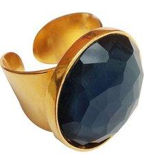 anillo dorado cristal azul oscuro