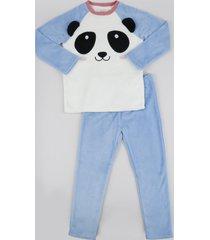 pijama de fleece infantil panda manga longa off white
