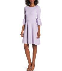 women's eliza j cutout bell sleeve sweater dress, size x-large - purple