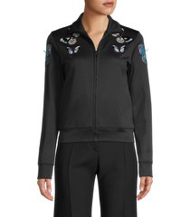 valentino women's threads butterfly-embroidery jacket - nero - size s