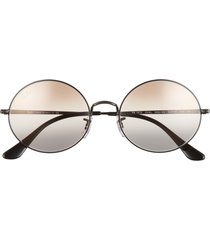 ray-ban 54mm gradient round sunglasses in black/pink gradient brown at nordstrom