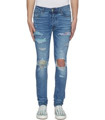 hawaiian patch distressed skinny jeans