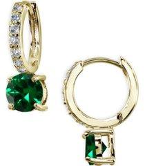colored cubic zirconia huggie hoop earrings in 18k gold plated sterling silver