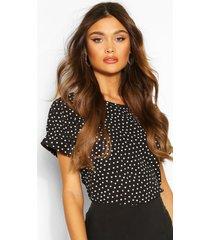 blouse met stippen en korte mouwen, black
