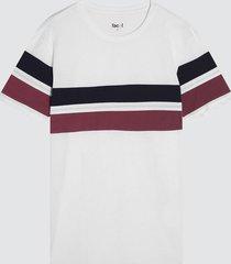 camiseta para hombre con franjas color blanco, talla l