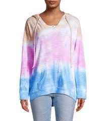 sweet romeo women's rainbow tie-dye hoodie - rainbow tie dye - size xs
