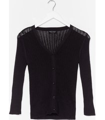womens touch of magic ribbed cardigan - black