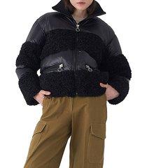 faux fur-trim & down-filled puffer jacket