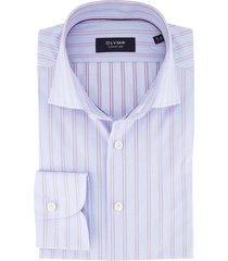 overhemd olymp signature gestreept blauw roze