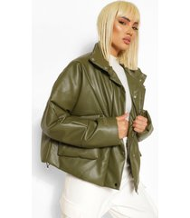 faux leather puffer jacket, khaki