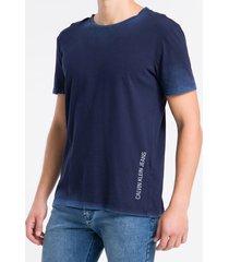 camiseta mc regular logo meia marm gc - azul médio - pp