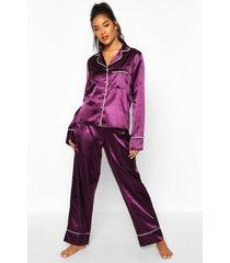 satijnen pyjama set met knopen en biezen, pruim