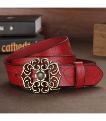 donna ladies second layer cintura cow vera pelle flower strap retro lotus leaf buckle cinturas