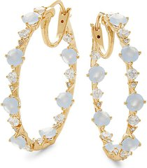 adriana orsini women's elsa cubic zirconia hoop earrings