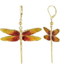 2028 women's gold tone orange enamel dragonfly earrings