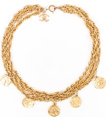 chanel gold tone cc medallion necklace gold/logo sz: