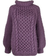 i love mr mittens cable-knit oversized jumper - purple
