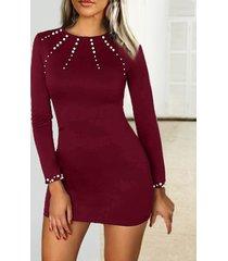 detalles de perlas elegantes redondos cuello mangas largas vestido