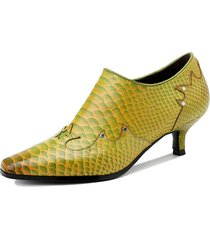 socofy retro elegant snakeskin print vera pelle scarpe da lavoro con tacco a cono e cerniera laterale décolleté con tacc