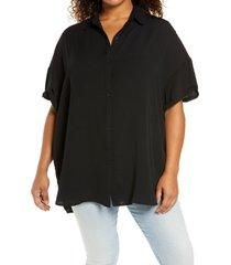 plus size women's treasure & bond button-up tunic shirt, size 2x - black