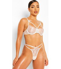 eyelash lace cutout bralette and thong set, white