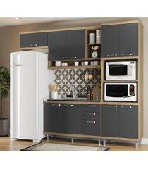 cozinha compacta completa multimã³veis com 4 peã§as sicãlia 5828 argila/grafite - bege/incolor - dafiti