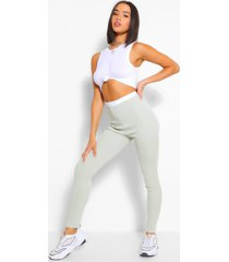 contrast waistband ribbed jersey legging, sage