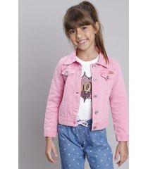 jaqueta de sarja infantil rosa