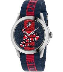 le marché des merveilles snake stainless steel & striped nylon strap watch