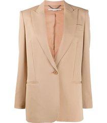 beige one-button blazer