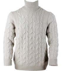 barba napoli pure virgin wool turtleneck sweater with braid processing
