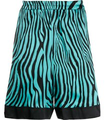 laneus animal-print stripe detail shorts - blue