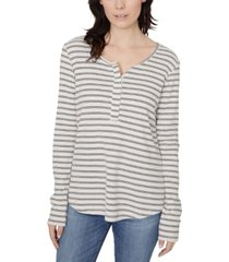 sanctuary alma snap-front striped long-sleeve t-shirt