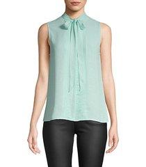 pleated sleeveless neck-tie top