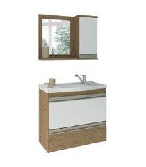 conjunto de banheiro grécia carvalho e branco