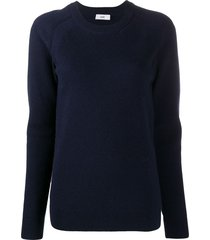 closed fine knit crew-neck sweater - blue