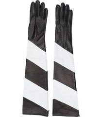 manokhi striped long leather gloves - black