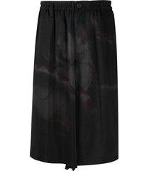 yohji yamamoto loose fit shorts - black
