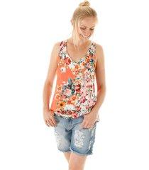 blusa sem manga estampa floral com decote v e trançado cruzado costas aha