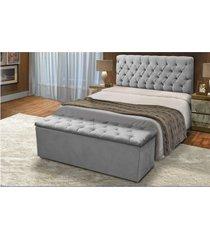 cabeceira mais calçadeira baú solteiro 90cm para cama box sofia suede cinza - ds móveis