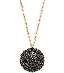 18k & 22k yellow & white gold black diamond round pendant necklace