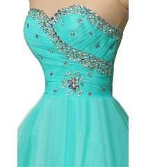 sweetheart beaded short turquoise tulle prom homecoming gown cocktail dress