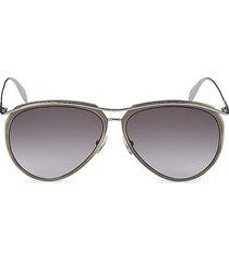 alexander mcqueen women's 60mm aviator sunglasses - antique silver
