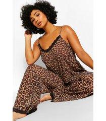 plus luipaardprint pyjama, bruin