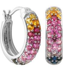 multicolored stone hoop earrings in sterling silver