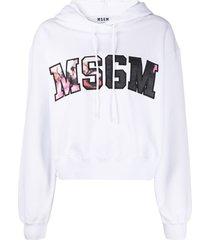 msgm floral logo print hoodie - white