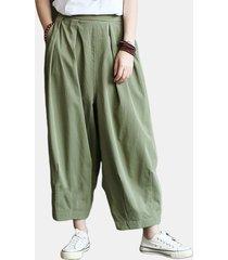 pantaloni casual elastici in vita con pieghe pieghettate tinta unita