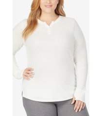 cuddl duds plus size stretch thermal long-sleeve split v-neck henley top